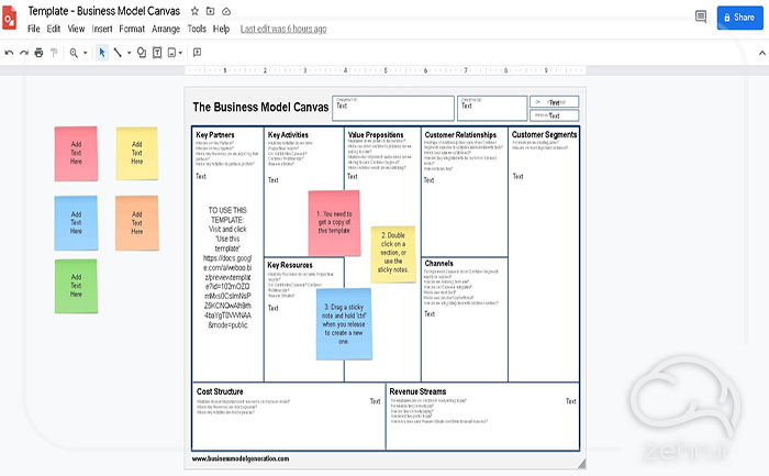 نمونه خام بوم مدل کسب و کار