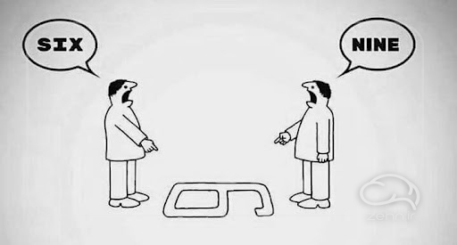 دو نفر که تصویر شخصی خود را درمورد یک عدد دارند و بازخورد مؤثر از نظر آنها متفاوت است.